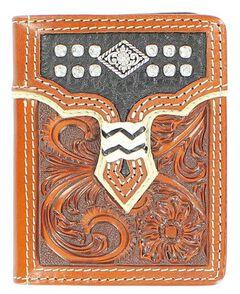 Nocona Overlay with Diamond Concho Tri-Fold Wallet, Tan, hi-res