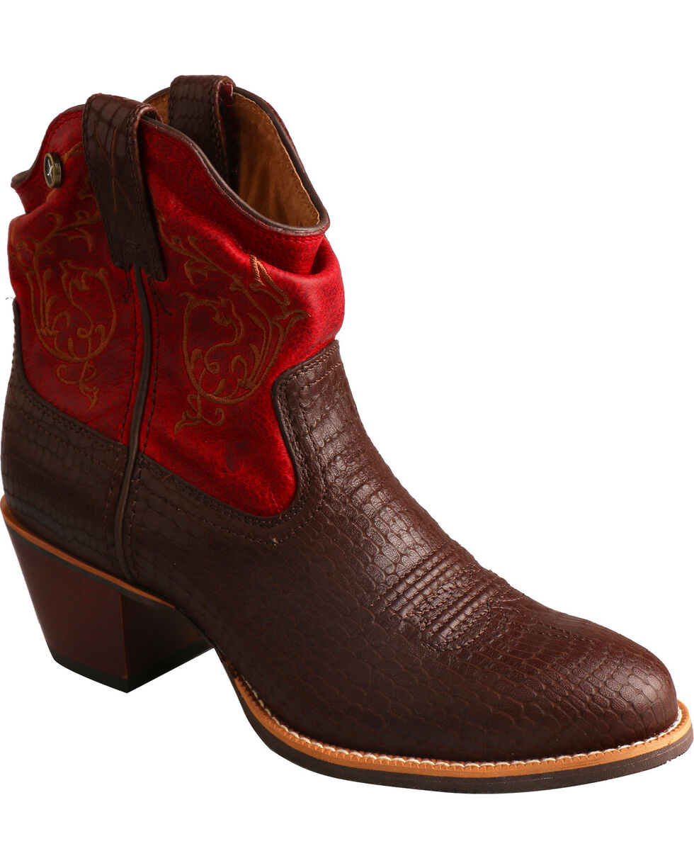 Twisted X Brown & Red Slouch Fashion Booties - Medium Toe, Brown, hi-res