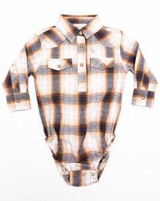 Cody James Infant Boys' Avalon Plaid Long Sleeve Flannel Onesie , Tan, hi-res