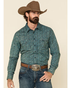 Rock & Roll Denim Men's Turquoise Floral Print Long Sleeve Western Shirt , Turquoise, hi-res