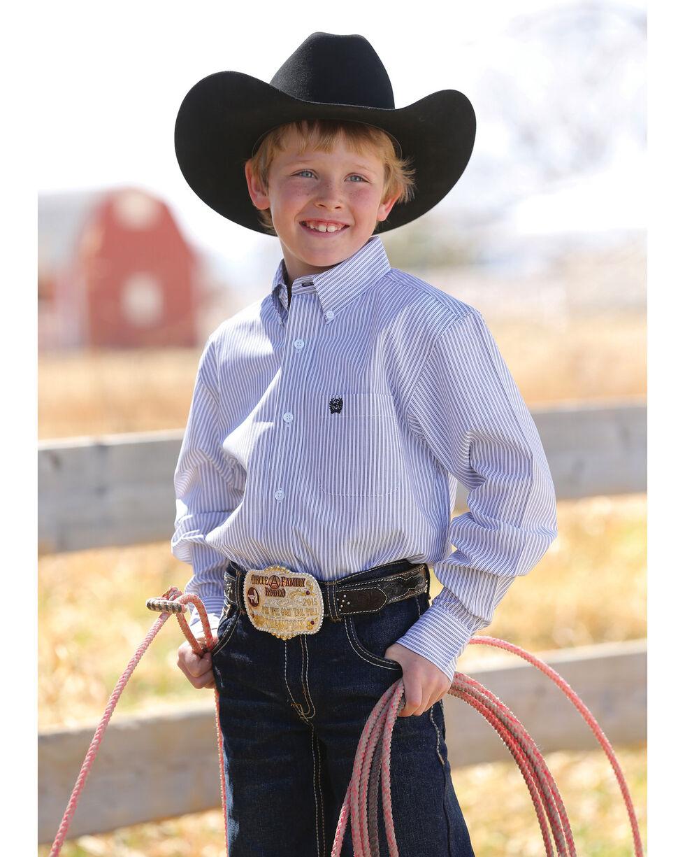 Cinch Boys' Match Dad Striped Long Sleeve Button Down Shirt, White, hi-res