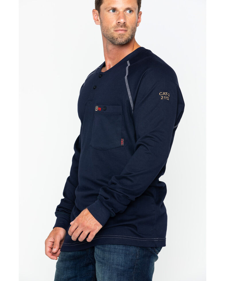 Cinch WRX Men's FR Cotton Long Sleeve Raglan Henley Work Shirt , Navy, hi-res