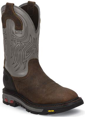 Justin Men's Tanker Silver Electrical Hazard Work Boots - Steel Toe, Timber, hi-res