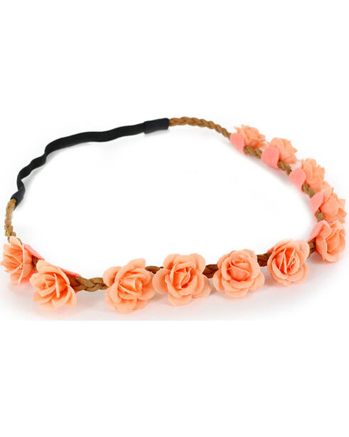 Shyanne Women's Peach Mini Rose Headband , Peach, hi-res