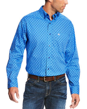 Ariat Men's Casual Series Marvel Print Long Sleeve Button Down Shirt, Blue, hi-res