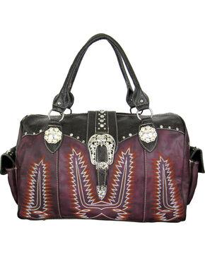Savana Women's Purple Duffle Bag with Tooled Trim and Stitching, Purple, hi-res