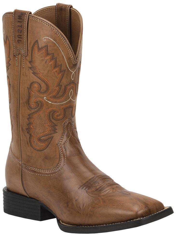 Justin Burnished Brown Farm & Ranch Cowboy Boots - Square Toe , Wood, hi-res