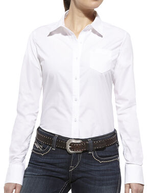 Ariat Women's Kirby Long Sleeve Shirt, White, hi-res