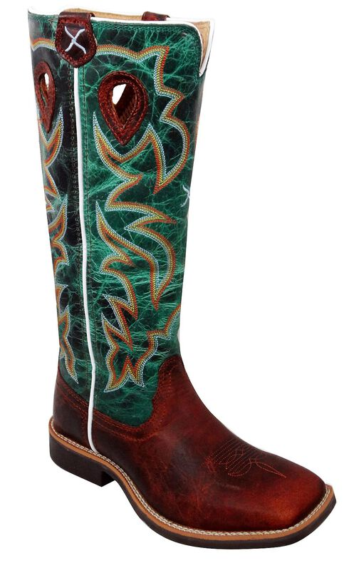 Twisted X Youth Boys' Turquoise Buckaroo Cowboy Boots - Square Toe, Cognac, hi-res