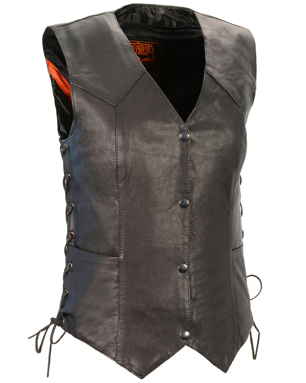 Milwaukee Leather Women's Black Lightweight Side Lace Conceal Carry Vest , Black, hi-res
