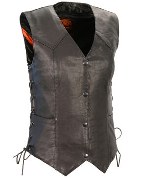 Milwaukee Leather Women's Black Lightweight Side Lace Conceal Carry Vest - 3X, Black, hi-res