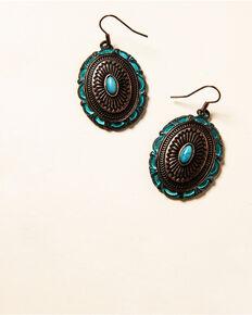 Shyanne Women's Willow Moon Patina Copper Concho Earrings , Rust Copper, hi-res