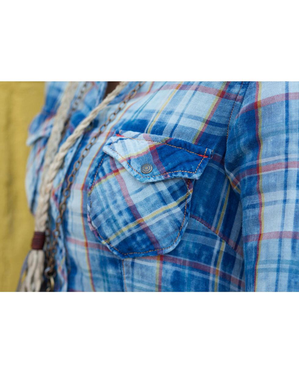 Ryan Michael Women's Superstition Mountain Plaid Tunic , Indigo, hi-res