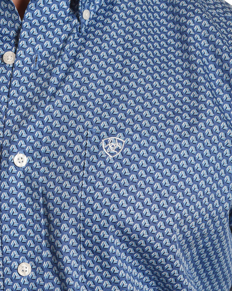 Ariat Men's Kirk Wrinkle Free Long Sleeve Button Down Shirt, Blue, hi-res