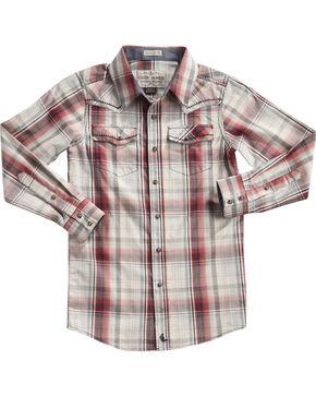 Cody James Boys' Plaid Gold Nugget Long Sleeve Shirt, Tan, hi-res