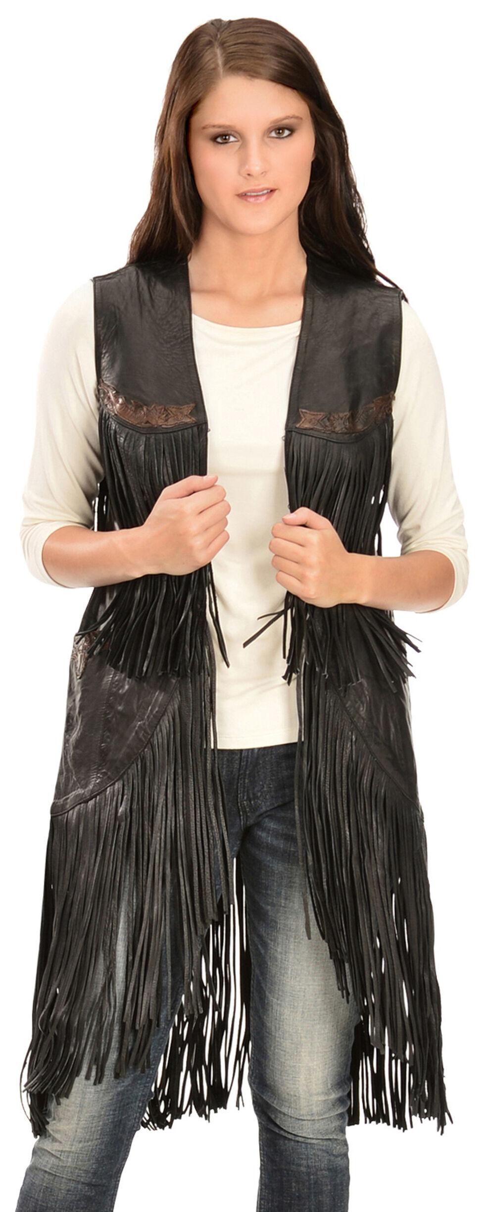 Kobler Leather Women's Cigala Leather Fringe Vest, Black, hi-res