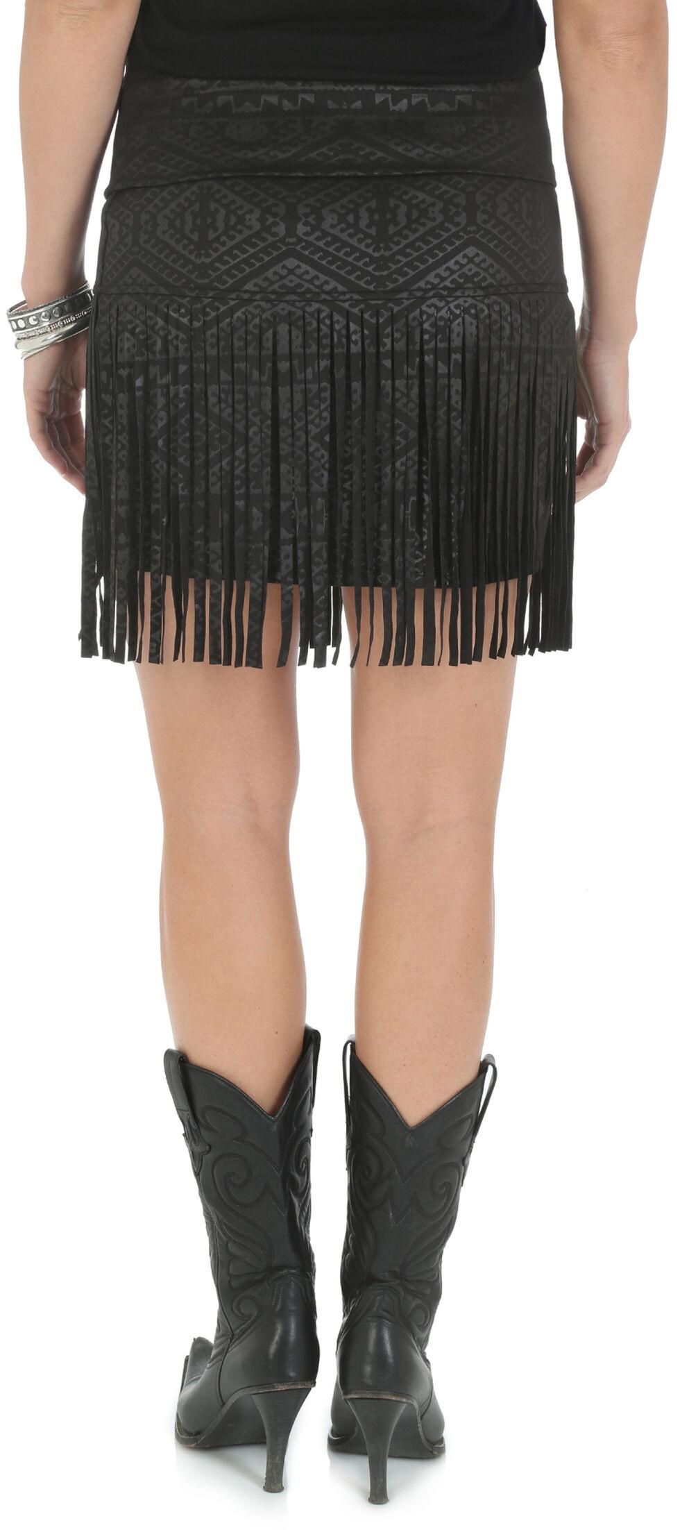 Wrangler Rock 47 Women's Aztec Pattern Mini Skirt with Fringe, Black, hi-res