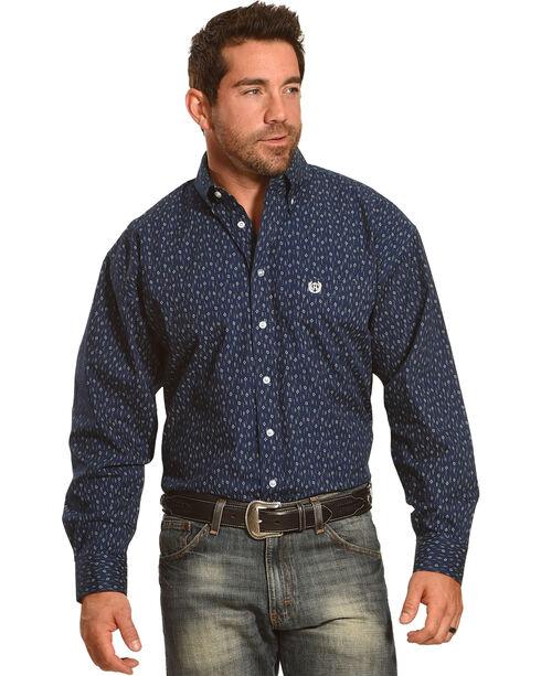 Panhandle Men's Long Sleeve Button Down Print Shirt, Navy, hi-res