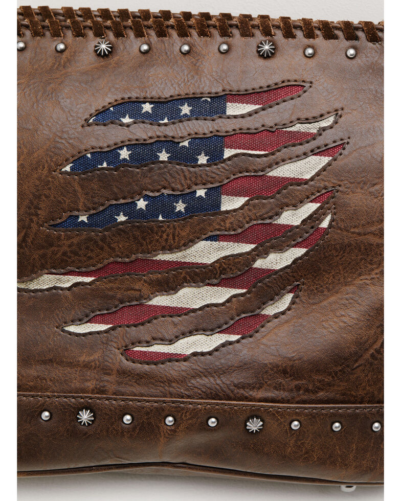 Shyanne Women's Americana Slashed Flag Crossbody Bag, Brown, hi-res