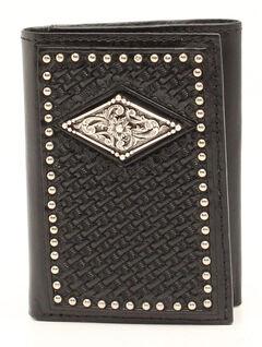 Ariat Basketweave Diamond Concho Trifold Wallet, Black, hi-res