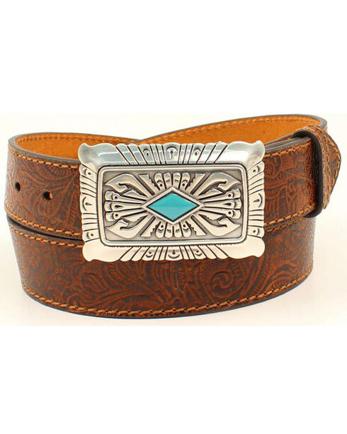 Ariat Women's Scrolled Embossed Turquoise Stone Leather Belt, Brown, hi-res