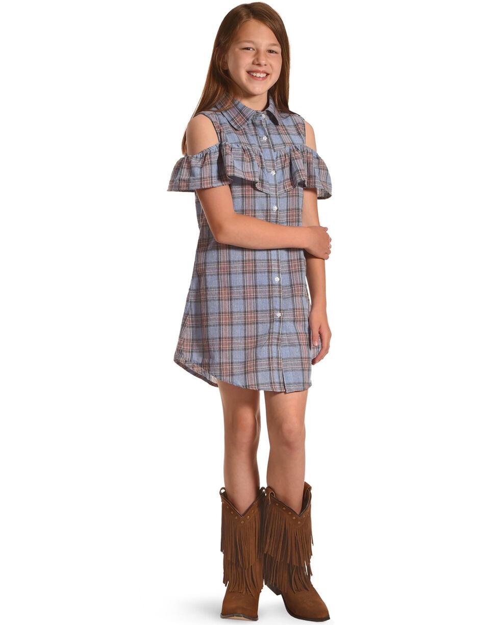 Idol Mind Girls' Plaid Peek-A-Boo Dress, Blue, hi-res