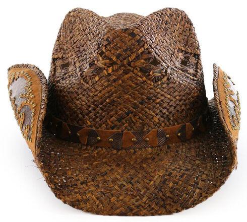 Shyanne Women's Embellished Brim Straw Hat, Brown, hi-res