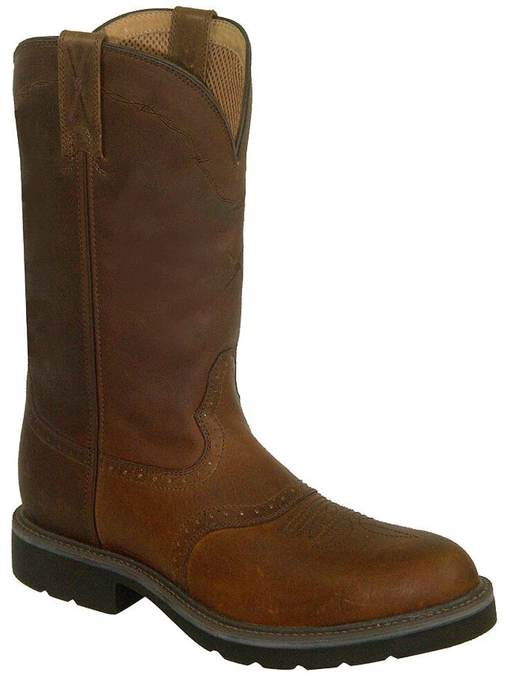 Twisted X Saddle Vamp Pull-On Work Boots - Steel Toe, Brown, hi-res