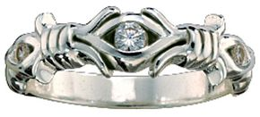Montana Silversmiths Barbed Wire Solitaire Ring - Size 7, Silver, hi-res