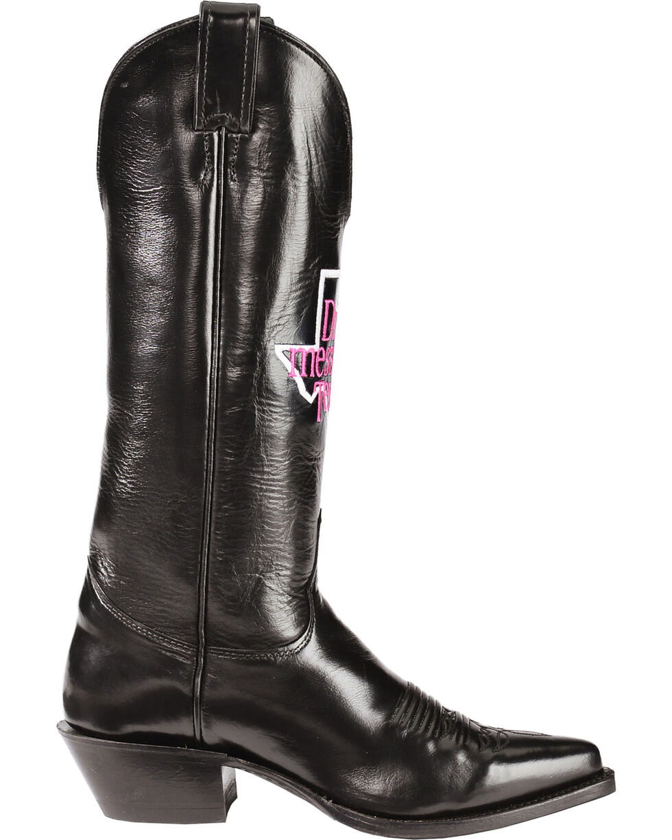 "Justin ""Don't Mess with Texas"" Calfskin Cowgirl Boots - Pointed Toe, Black, hi-res"
