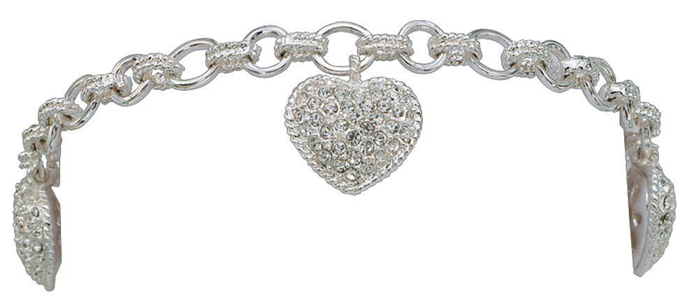 Montana Silversmiths Puffy Pave Heart Bracelet, Silver, hi-res