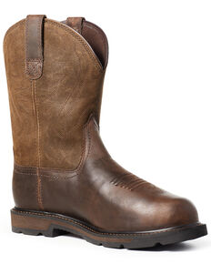 Ariat Men's Groundbreaker Metguard Western Work Boots - Steel Toe, Brown, hi-res