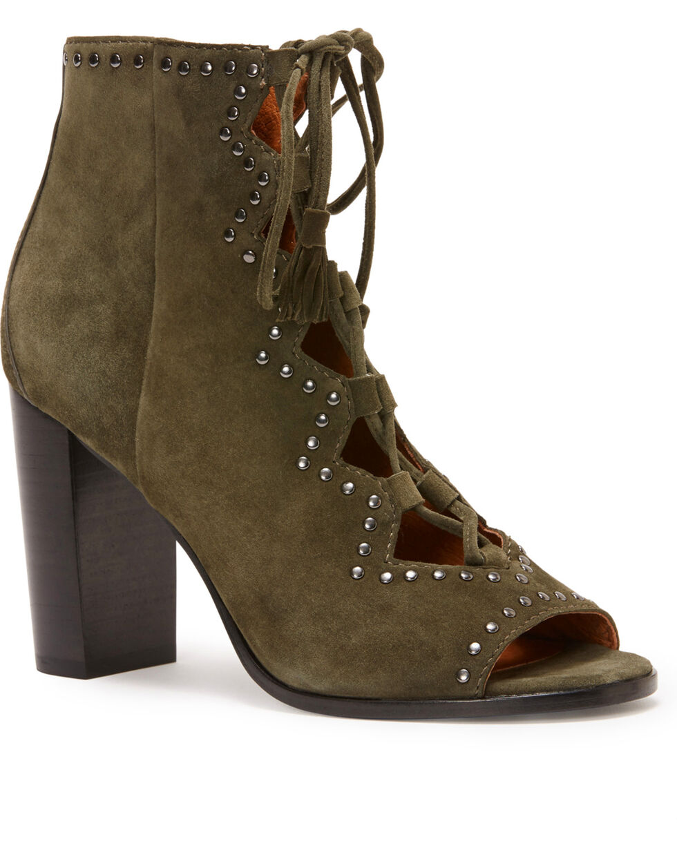 Frye Women's Forest Gabby Ghillie Stud Booties - Round Toe, Dark Green, hi-res