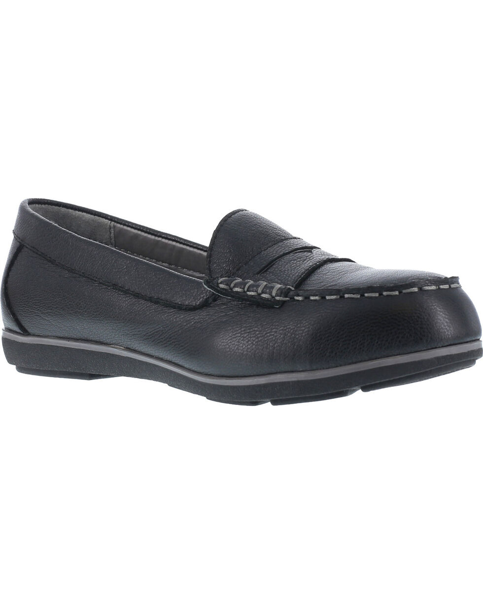 Rockport Women's Top Shore Penny Loafer Shoes - Steel Toe , Black, hi-res
