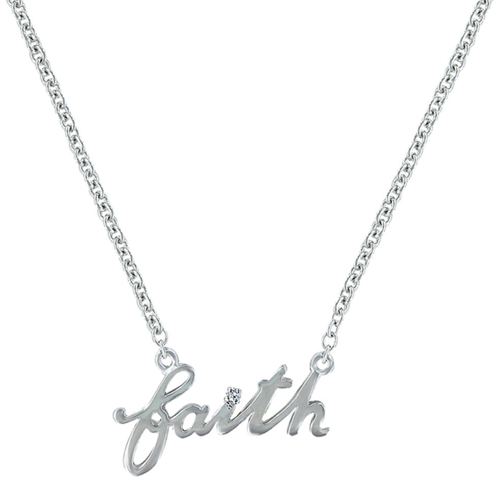 Montana Silversmiths Women's Written Faith Necklace , Silver, hi-res
