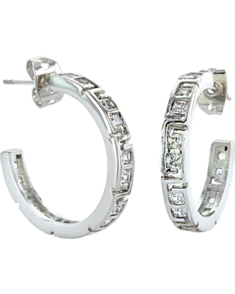 Montana Silversmiths Women's Dainty Aztec & Rhinestone Earrings , Silver, hi-res
