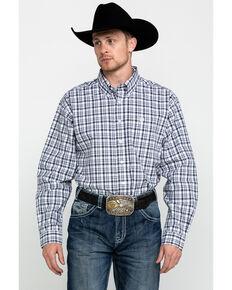 Cinch Men's White Tencel Plaid Long Sleeve Western Shirt , White, hi-res
