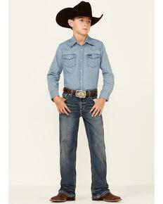 Rock & Roll Denim Boys' Medium Vintage Stretch Regular Bootcut Jeans , Medium Blue, hi-res