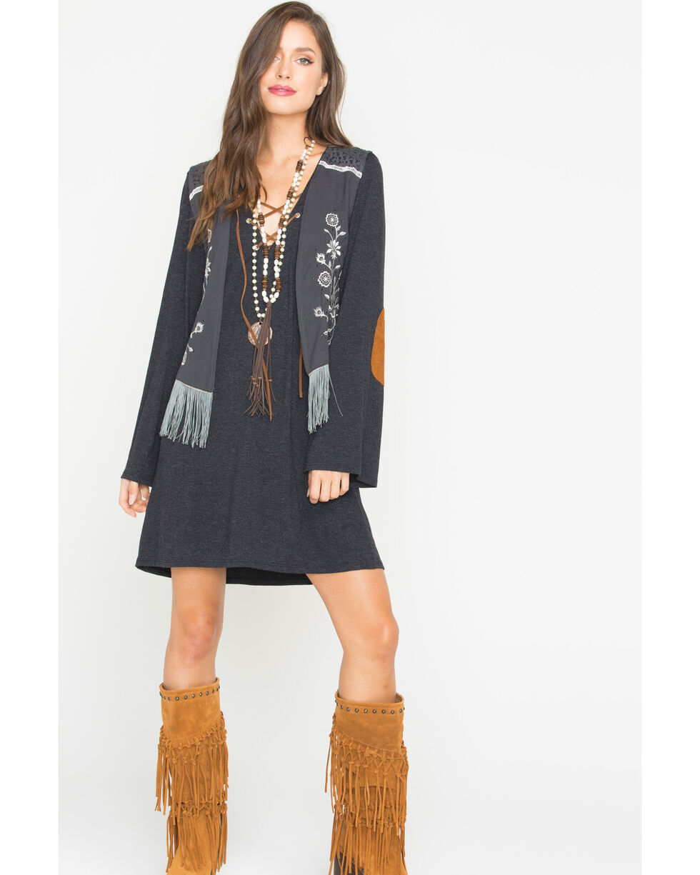 Rock & Roll Cowgirl Women's Grey Embroidered Rayon Vest , Grey, hi-res