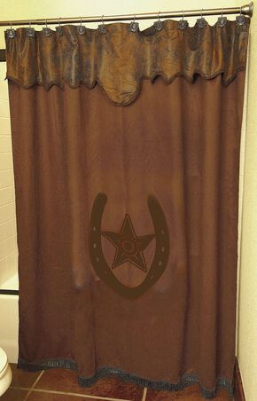 Star & Horseshoe Shower Curtain, Brown, hi-res