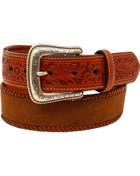 Nocona Men's Lace Edge Tooled Tabs Western Belt , Medium Brown, hi-res