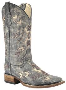 Circle G Distressed Black Arrowhead Cowgirl Boots - Square Toe, Black, hi-res