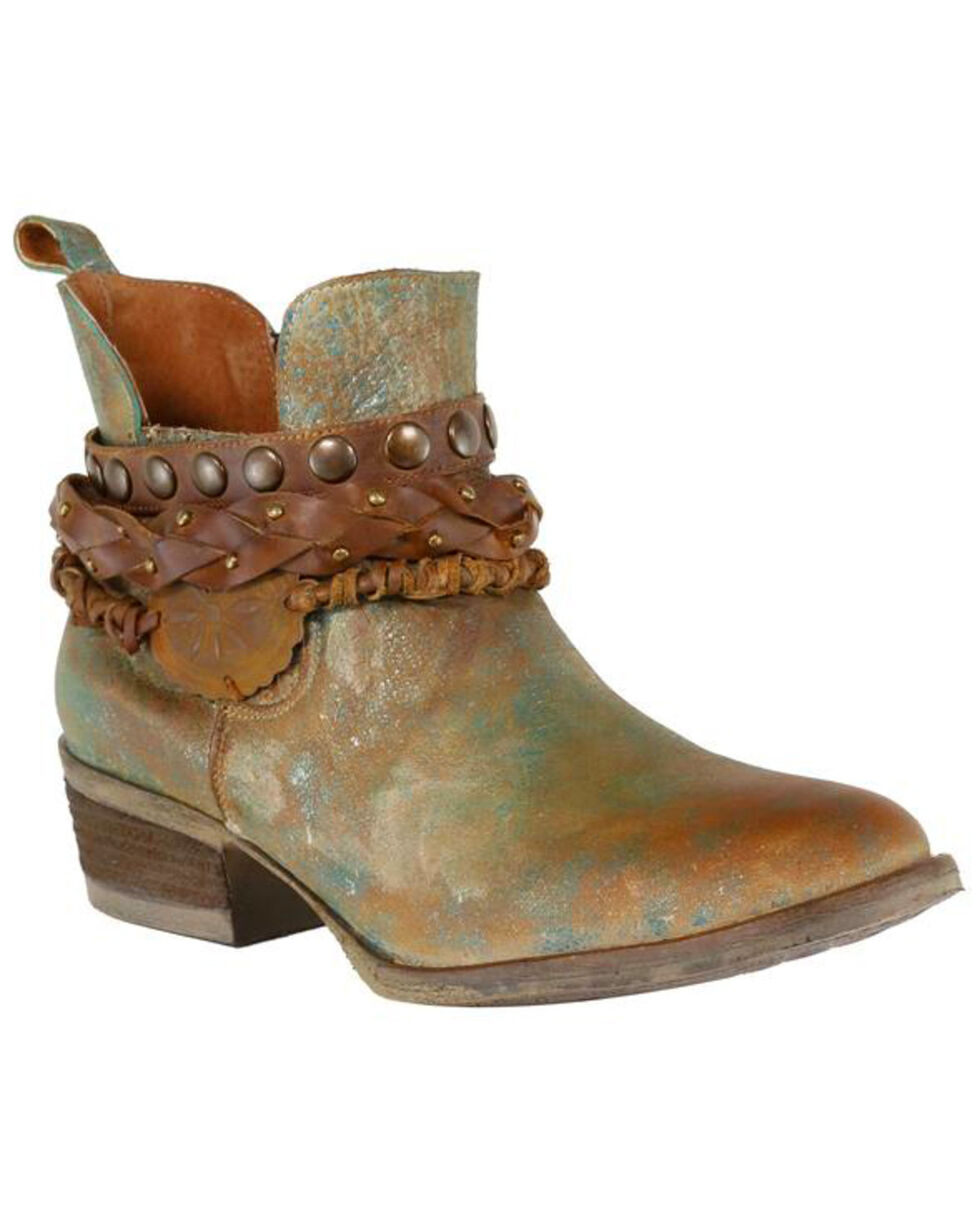 Circle G Women's Green Harness and Studded Short Boots - Round Toe , Green, hi-res