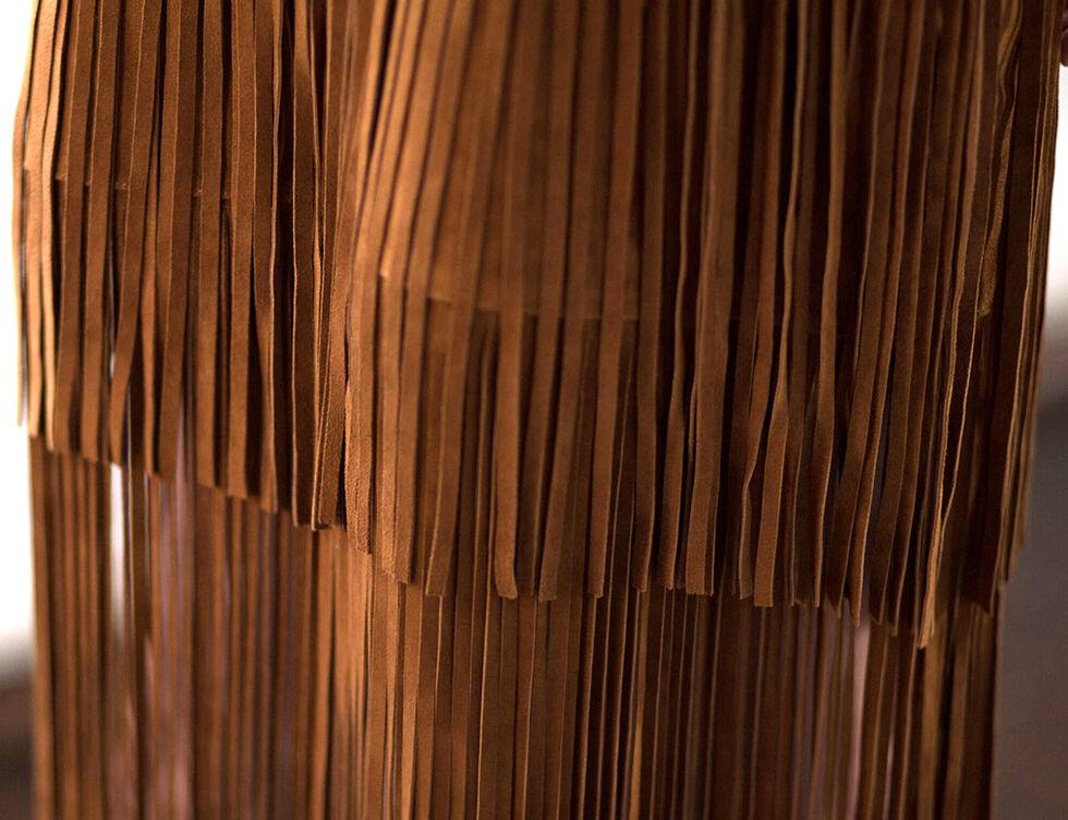 Ryan Michael Women's Fringe Leather Skirt, Cognac, hi-res