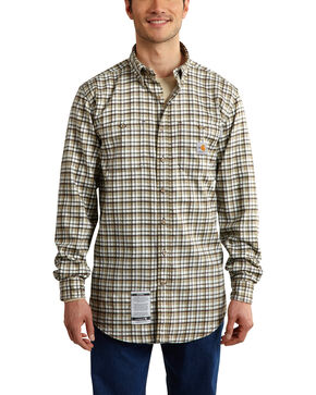 Carhartt Men's Flame Resistant Classic Plaid Shirt - Big & Tall, Beige, hi-res