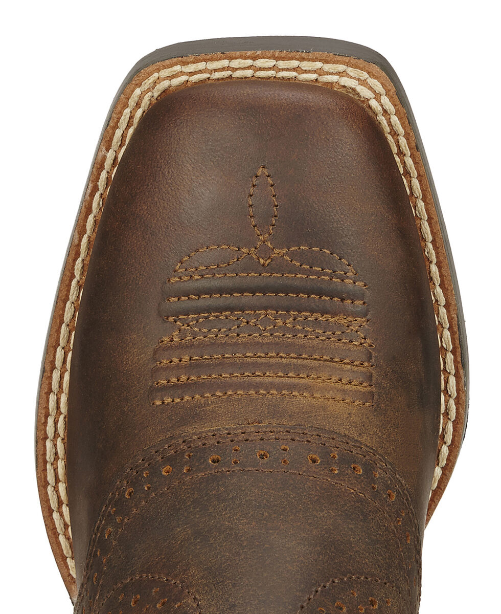 Ariat Youth Boys' Roughstock Cowboy Boots - Square Toe, Brown, hi-res