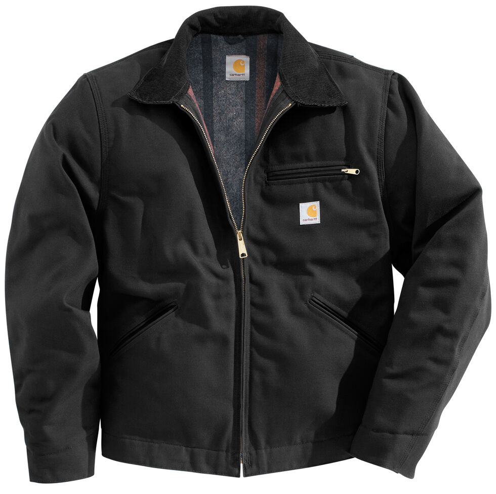 Carhartt Men's Duck Detroit Blanket Lined Canvas Jacket, Black, hi-res