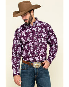 Ariat Men's Rio Stretch Floral Print Long Sleeve Western Shirt , Purple, hi-res