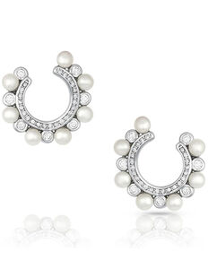 Montana Silversmiths Women's Horseshoe Pearl Earrings, Silver, hi-res