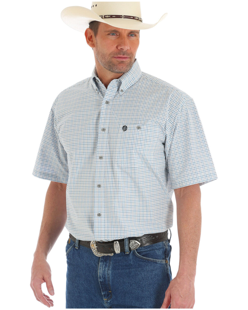 Wrangler George Strait Men's White Checkered Shirt, White, hi-res
